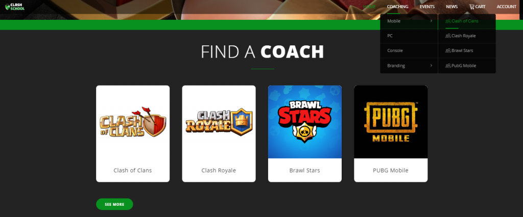 How Clash School works - home page.