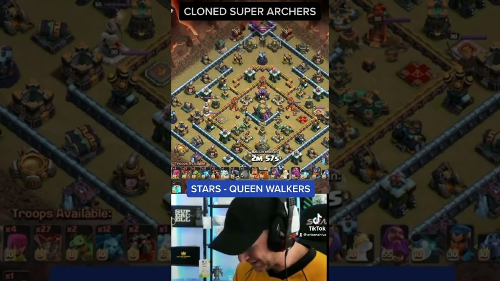 SUPER ARCHER BLIMP DROP with 7 INVISIBILITY! Stars from the Queen Walkers is INSANE! by Clash with Eric – OneHive